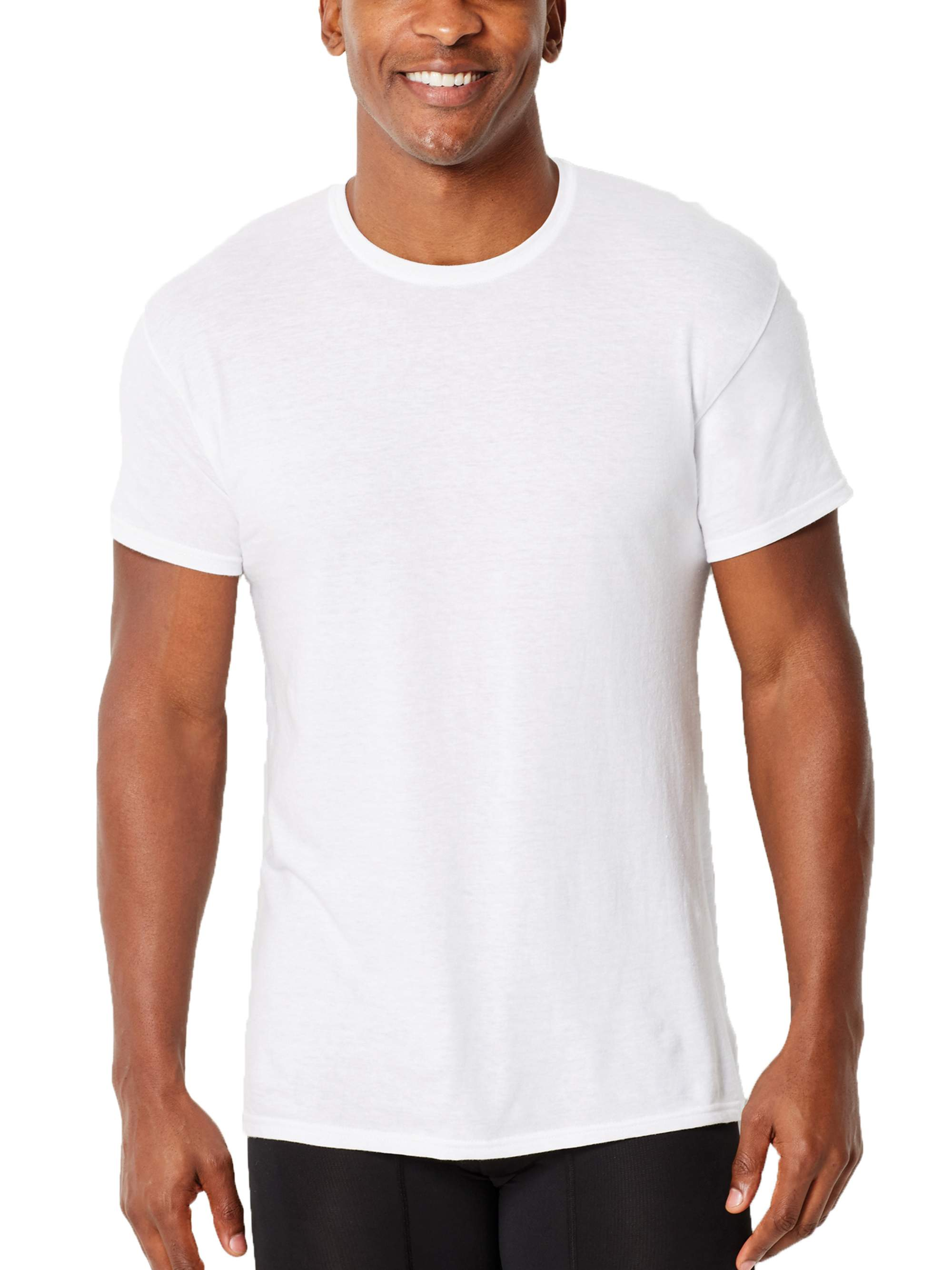 Big Mens ComfortFlex Fit White Crew T-Shirt, 3 Pack, 2XL