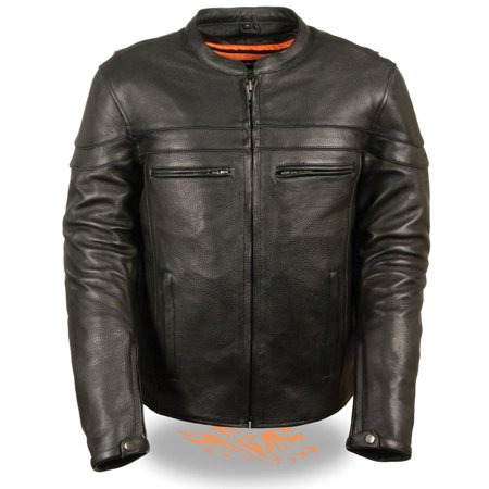 Milwaukee Leather Mens Sporty Crossover Vented Black Leather Scooter Jacket wit