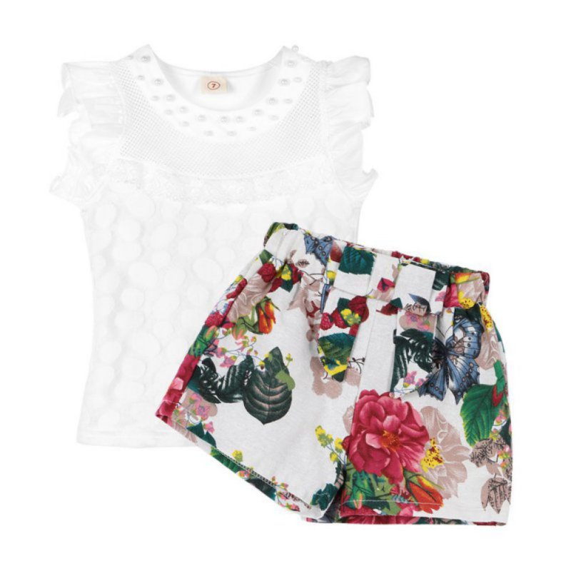 Kacakid Toddler Kids Baby Girls 2pcs T-shirt Tops+ Shorts Outfits Clothes Sets 2-7Y