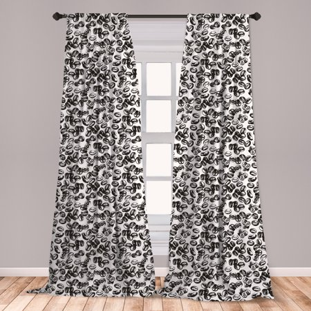Coffee Curtains 2 Panels Set, Distressed Black Java Plant Seeds Scattered on White Cup of Fresh Joe Espresso, Window Drapes for Living Room Bedroom, Black White, by (The Temperature Of A Certain Cup Of Coffee)