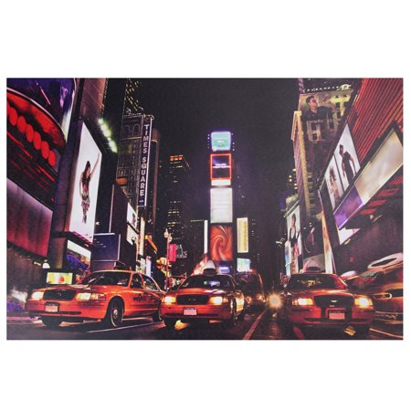 """LED Lighted NYC Times Square Broadway Taxi Cabs Canvas Wall Art 15.75"""" x 23.5"""""""
