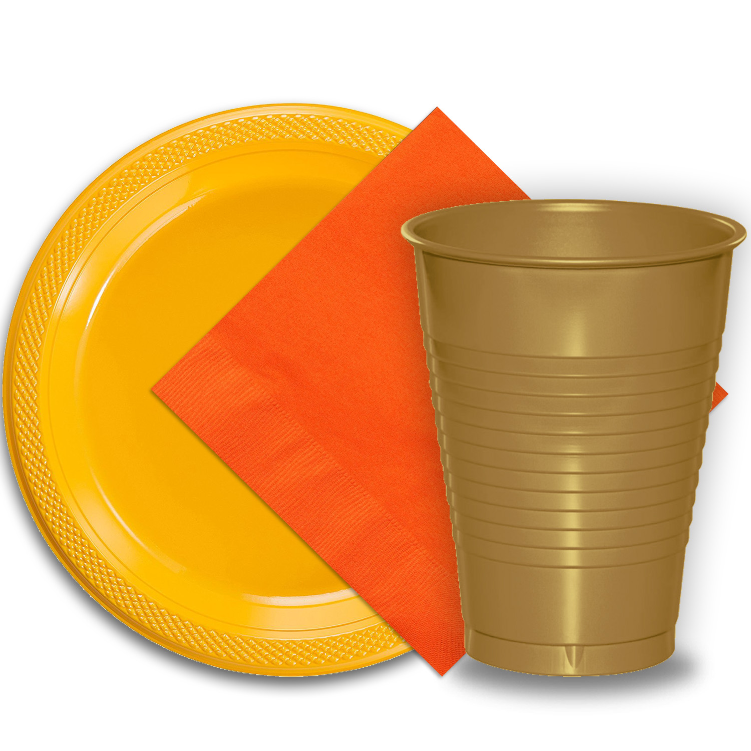 """50 Yellow Plastic Plates (9""""), 50 Gold Plastic Cups (12 oz.), and 50 Orange Paper Napkins, Dazzelling Colored Disposable Party Supplies Tableware Set for Fifty Guests."""