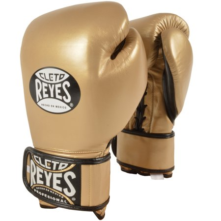 - Cleto Reyes Lace Up Hook and Loop Hybrid Boxing Gloves - Solid Gold
