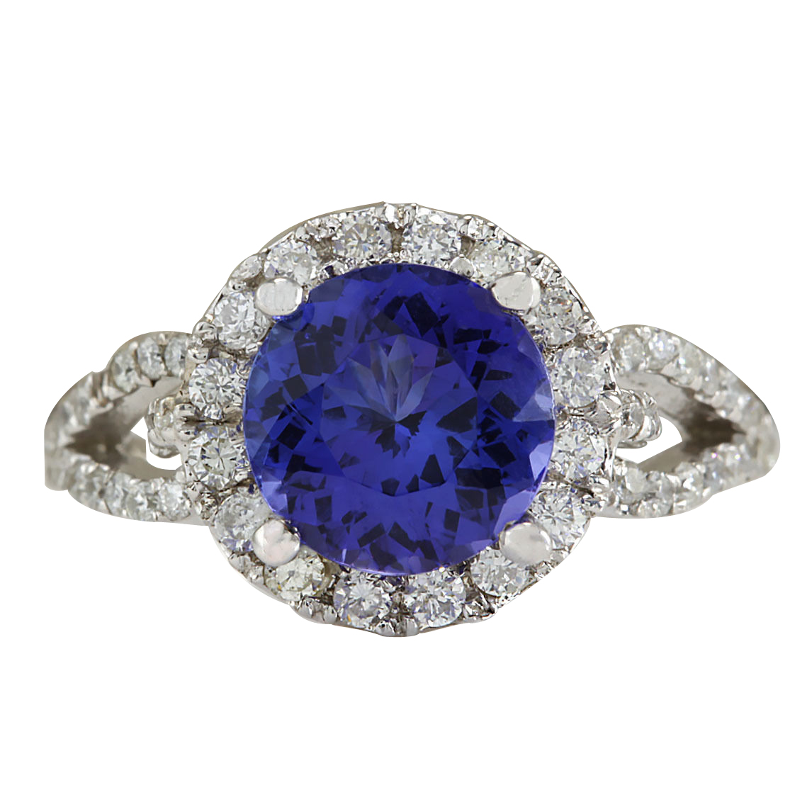 3.49Ct Natural Blue Tanzanite And Diamond Ring In14K White Gold Aaa by