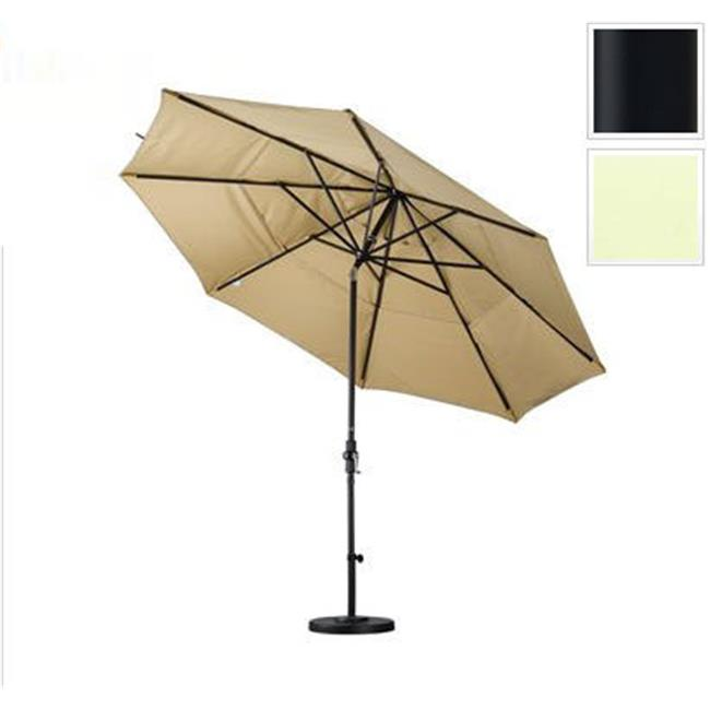 11 ft. Aluminum Market Umbrella Collar Tilt Double Vents - Matted Black - Pacifica - Natural