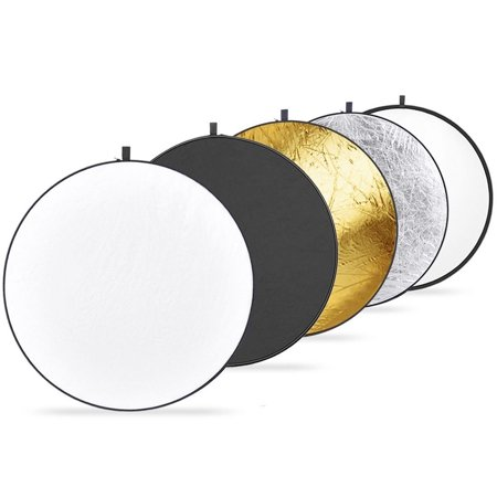 Felji 43-inch 110cm 5-in-1 Collapsible Multi-Disc Light Reflector with Bag Silver, Gold, White & Black 1 Collapsible Reflector Disc