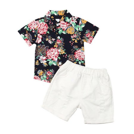 Toddler Baby Kids Boy Floral Shirt Tops + Denim Shorts Gentleman Outfits Clothes 2PCS Set