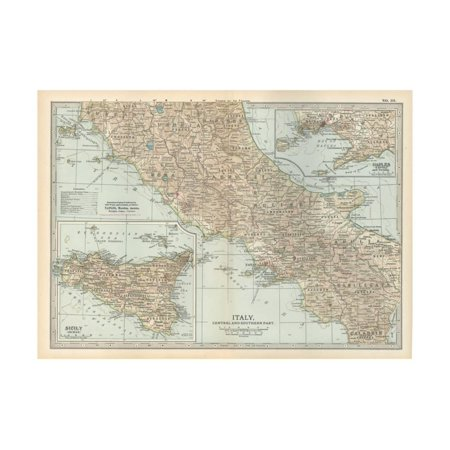 Map of Italy. Central and Southern Part. Insets of Sicily (Sicilia) and Naples (Napoli) Print Wall Art By Encyclopaedia Britannica