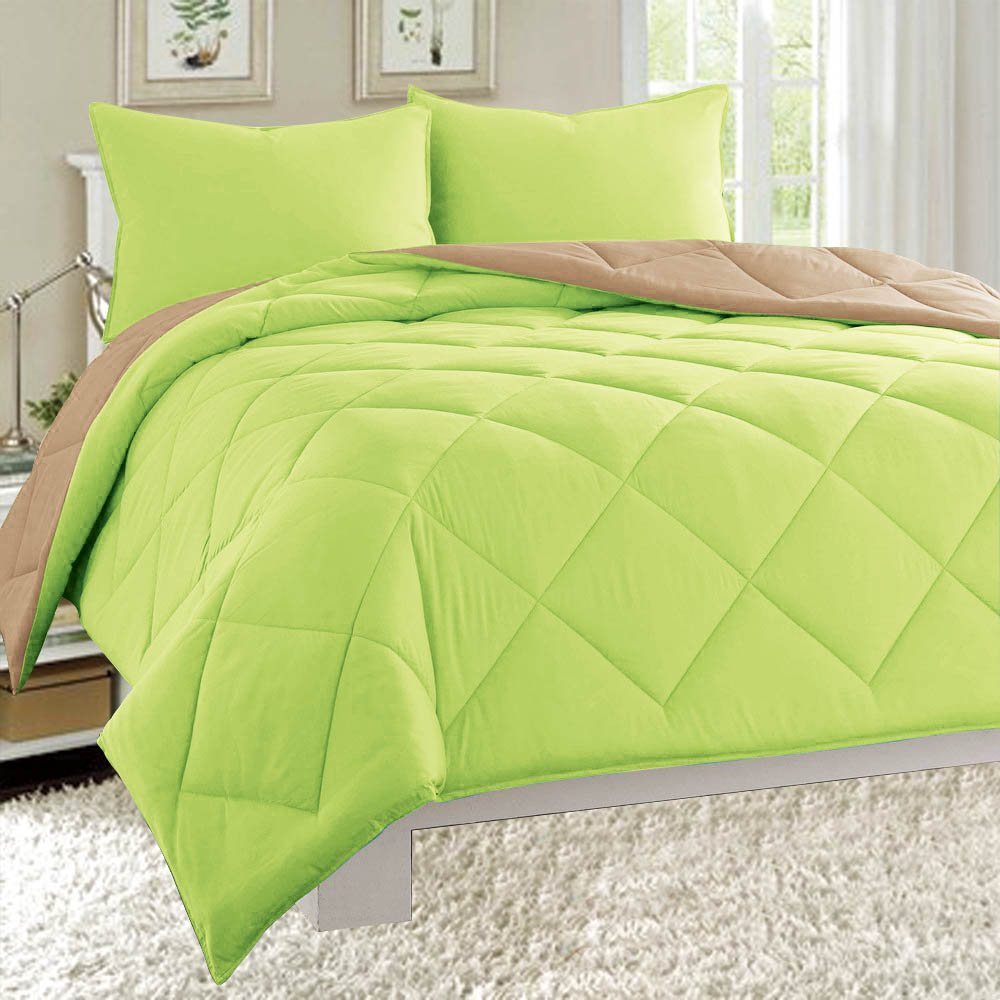Dayton King Size 3-Piece Reversible Comforter Set Soft Brushed Microfiber Quilted Bed Cover Lime Green & Taupe