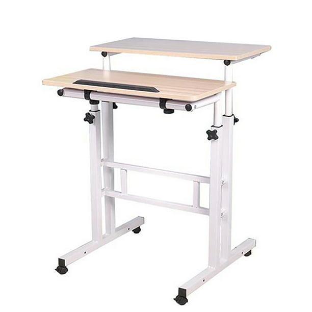 Mind Reader Multipurpose Home Office Computer Desk, Mobile Sit and Stand Desk, Workstation Desk, White