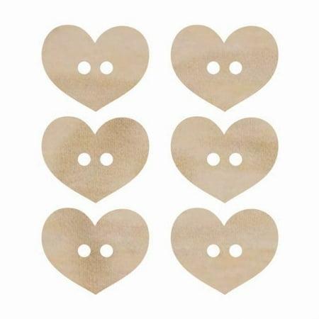Kaisercraft FL473 Laser Cut Wood Flourish, Heart Buttons, 6-Pack  Multi-Colored