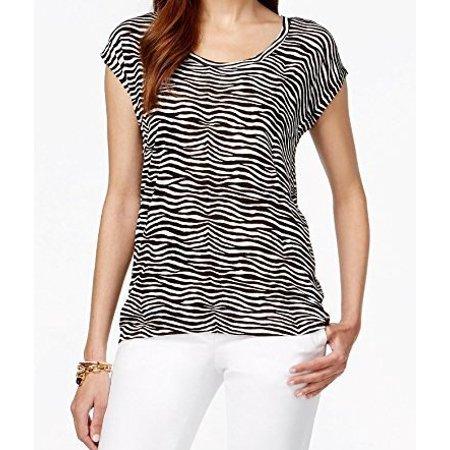 4651763f640d Michael Kors NEW Black Women Size Small S Short Sle Zebra Print Knit Top -  Walmart.com