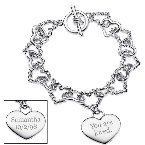 Personalized Women's Silver-Tone Engraved Message and Linked Hearts Bracelet