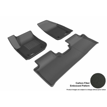 3D Maxpider 2016 2017 Buick Envision Front   Second Row Set All Weather Floor Mats In Black With Carbon Fiber Look