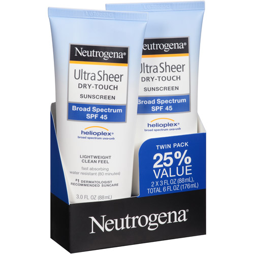 Neutrogena Ultra Sheer Dry-Touch Sunscreen Lotion Broad Spectrum SPF 45,3 fl oz (Pack of 2)