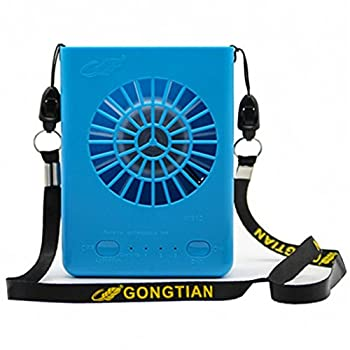 Personal Waist Fan 3 Speeds Hiking USB Necklace Fan 23H Working Time Camping Climbing Great for Outdoor Workers Hands Free Waist Cooling Fan with 6000mAh Rechargeable Battery