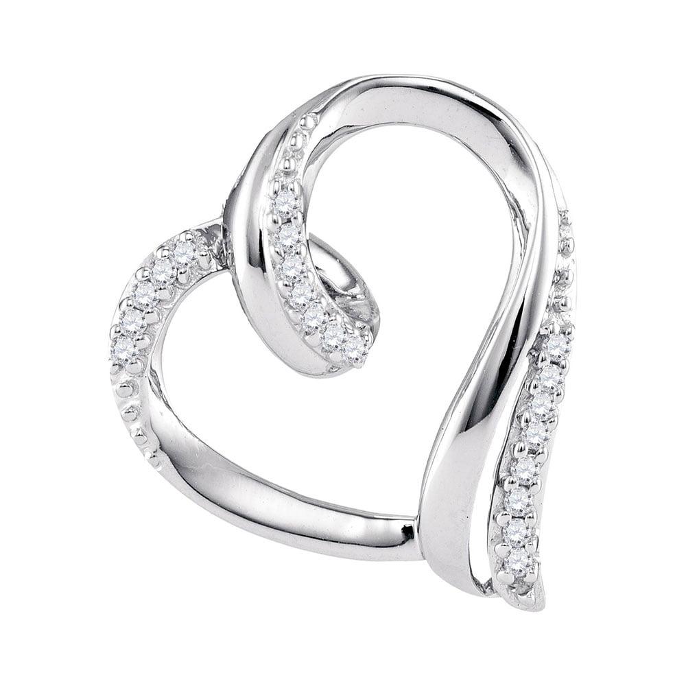 10kt White Gold Womens Round Diamond Heart Outline Pendant 1/10 Cttw