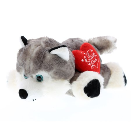 Super Soft Plush Dollibu Floppy Husky I Love You Valentines Plush - Valentine Animals