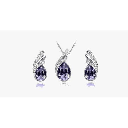 Angel Tear Drop Austrian Crystal Pendant & Earring Set - image 2 of 5