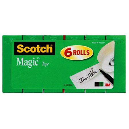 Scotch Magic Invisible Office Tape 6 Pack, Clear, 3/4 in x 1000 in per Roll