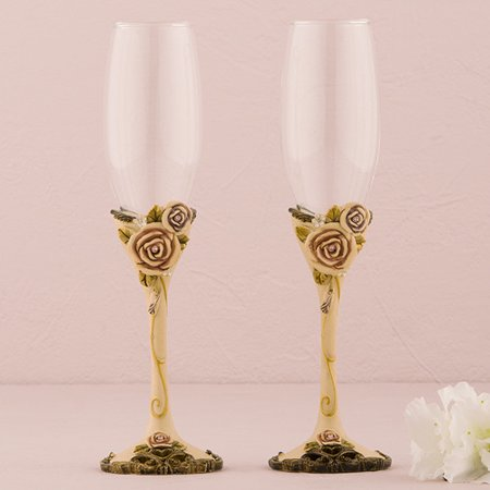 Weddingstar Vintage Rose Wedding Toasting Glass Flute (Set of - Wedding Toasting Flute Set