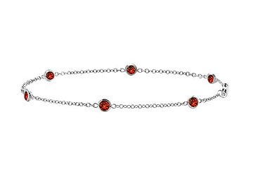Garnet Bracelet Bezel set in 14K White Gold with Total weight 0.60 Carat in 7 Inch by Love Bright