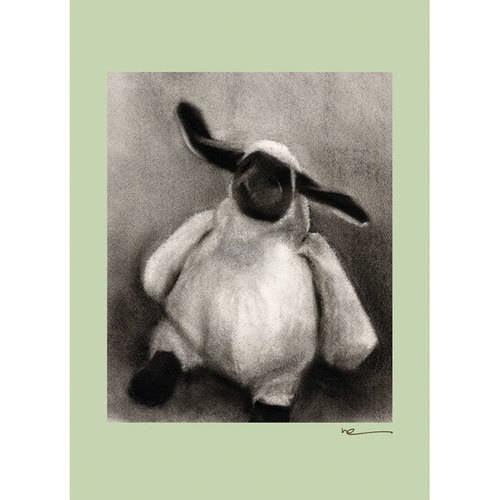 Oopsy Daisy - Charcoal Lamb - Sage Border Canvas Wall Art 10x14, Margot Curran