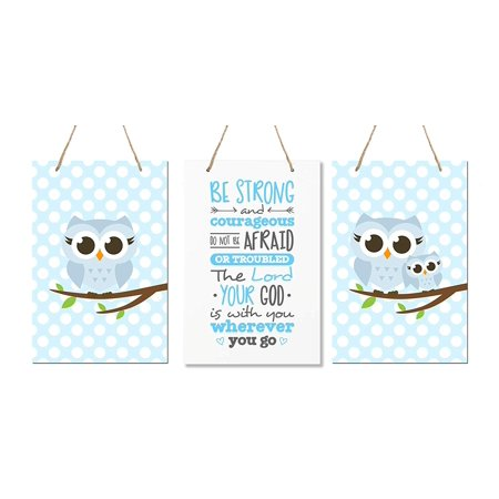 LifeSong Milestones 3 Piece Owl Wall Art Décor for Kids Bedroom Nursery - Be Strong and Courageous Joshua 1:9 (Blue) (Owl Nursery Pictures)