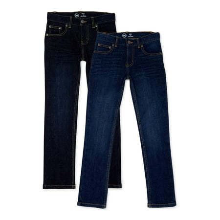 Wonder Nation Boys Slim Straight Jeans, 2-Pack, Sizes 4-18 & Husky