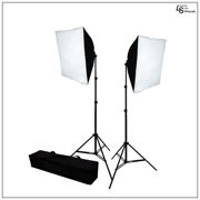 Double 20 x 28 Softbox Lighting Kit with 2x 65W CFL Bulbs, and 2x Light Stands for Photo Lighting By