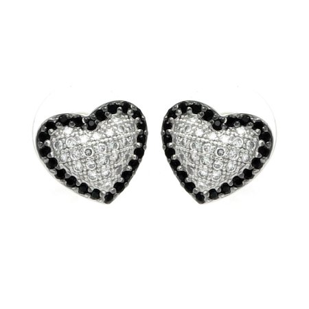 Black And Clear Heart Cubic Zirconia Inlay Outline Stud Earrings Rhodium Plated Sterling Silver