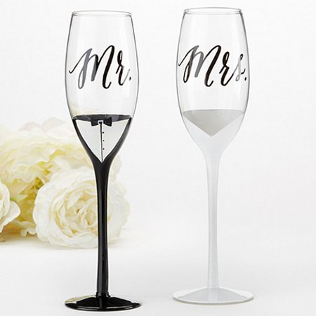 Tuxedo and Wedding Gown Mr. & Mrs. Toasting Flutes Set