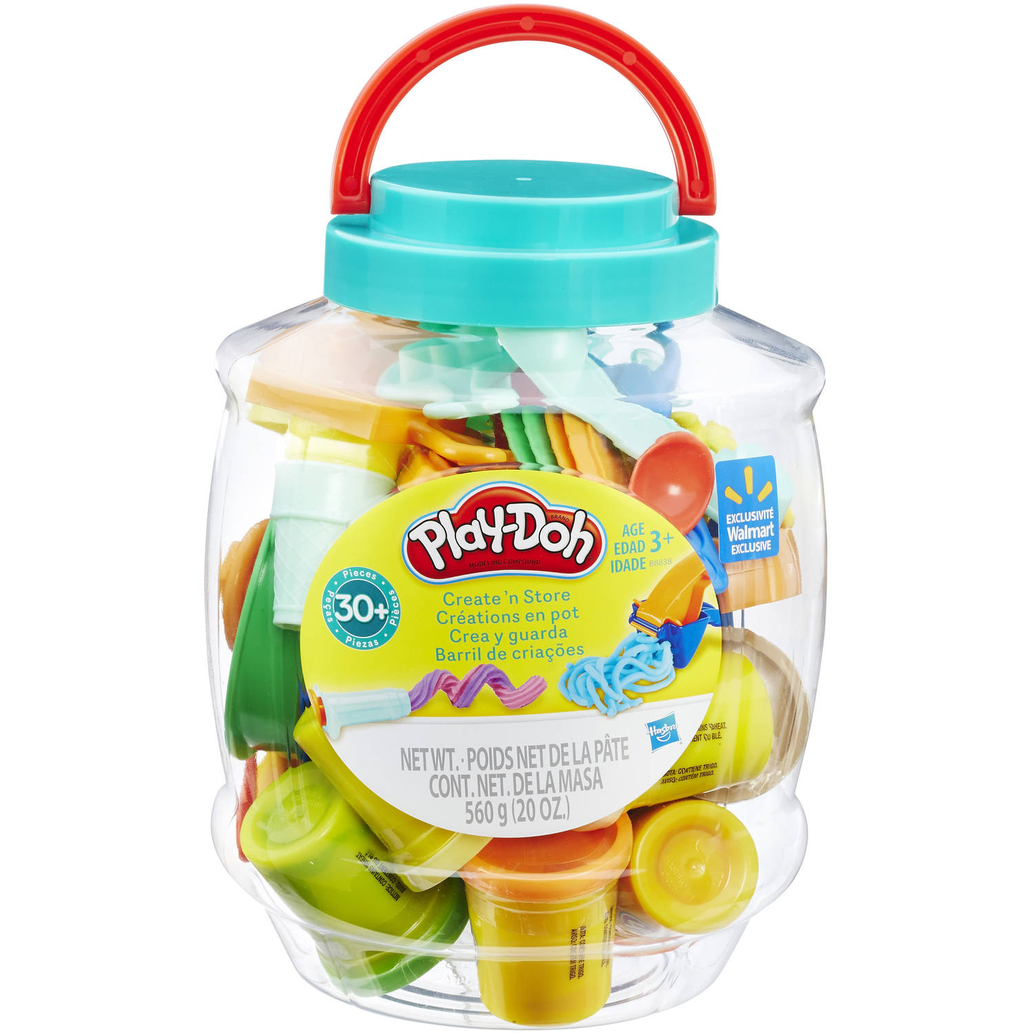 Play-Doh Create N Store Bucket with 10 Cans of Dough & 30+ Tools, 20 oz