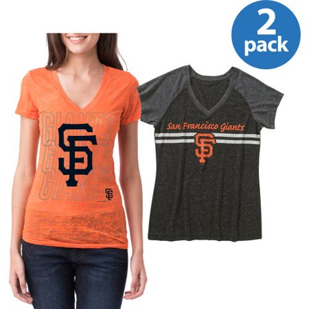 San Francisco Giants Womens Short Sleeve Graphic Tee, 2 Pack, Your Choice by