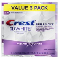 Crest 3D White Brilliance Toothpaste, Peppermint, 4.1 oz, 3 Pack