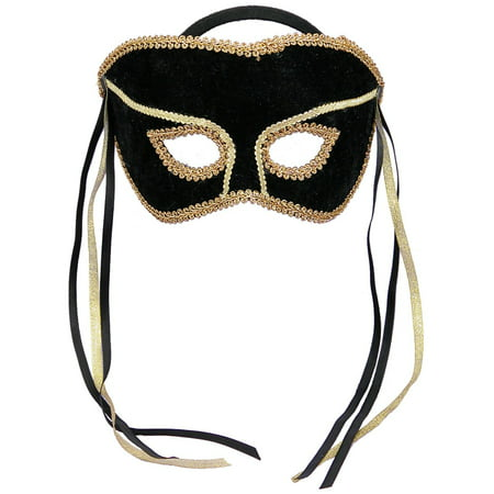Black and Gold Masquerade Mask - One Size