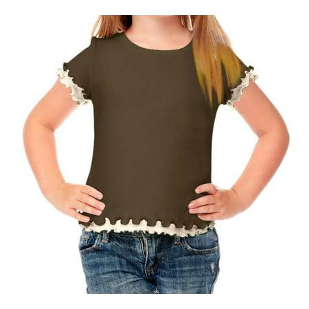 Kavio! Little Girls 4-6X Lettuce Edge Short Sleeve Top Army Green/Nude 4 - Army Girl