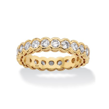 2.20 TCW Round White Cubic Zirconia Eternity Ring Band in 14k Yellow Gold over Sterling Silver 14k White Gold Cz Rings