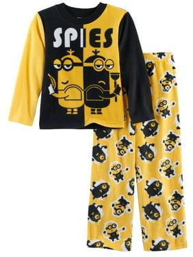 Despicable Me Boys' Minions 2-Piece Fleece Pajama Set, Sly Spies Yellow, Size: 4