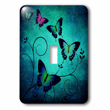 3dRose Fantasy Art of Butterfly Insect with Blue Green Background - Single Toggle (Art Single Toggle Switch)