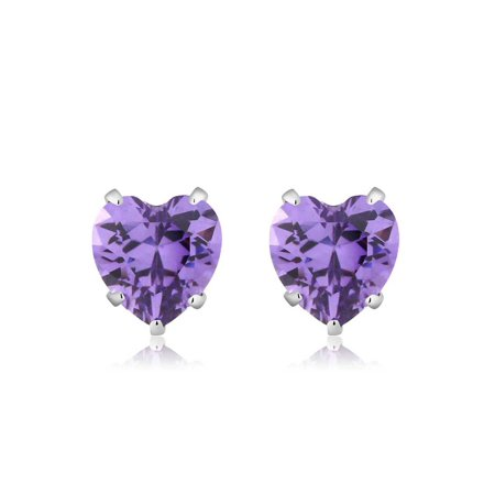 925 Sterling Silver Purple CZ Stud Earrings (3.00 cttw, 6MM Heart -