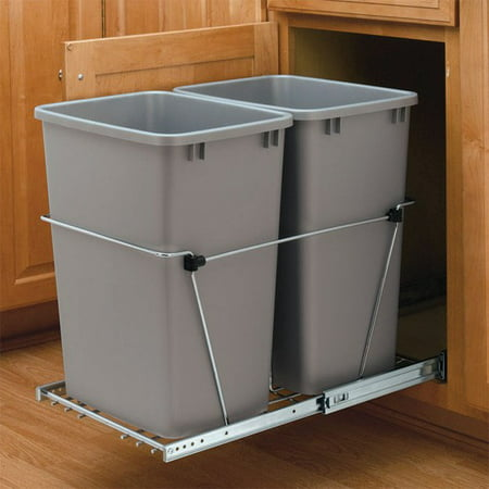 Bottom Mount Trash Pull-Outs With Standard Close Double Plastic Bins, Bottom Mount Pull-Out, Standard Close Slide Motion, 2 Bins, 35 Quarts Bin Size