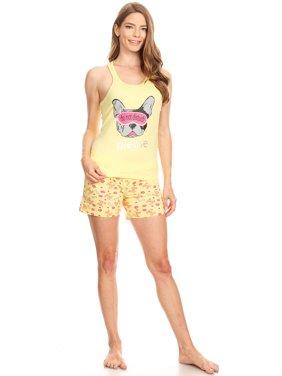3460S Womens Shorts Set Sleepwear Pajamas Woman Sleeveless Sleep Nightshirt Pink XL