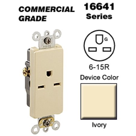Leviton 16641-I Decora Single Receptacle Commercial Grade 6-15R 15A 250V Side Wired - Ivory