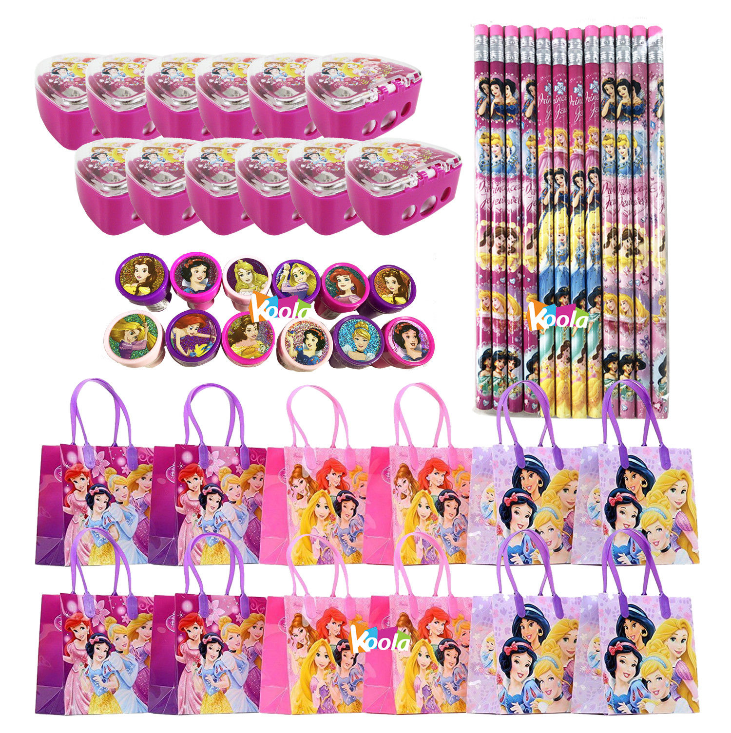 12 sets Disney Princess Goody Birthday Bag Loot Party Favor Gifts Stamper Pencil