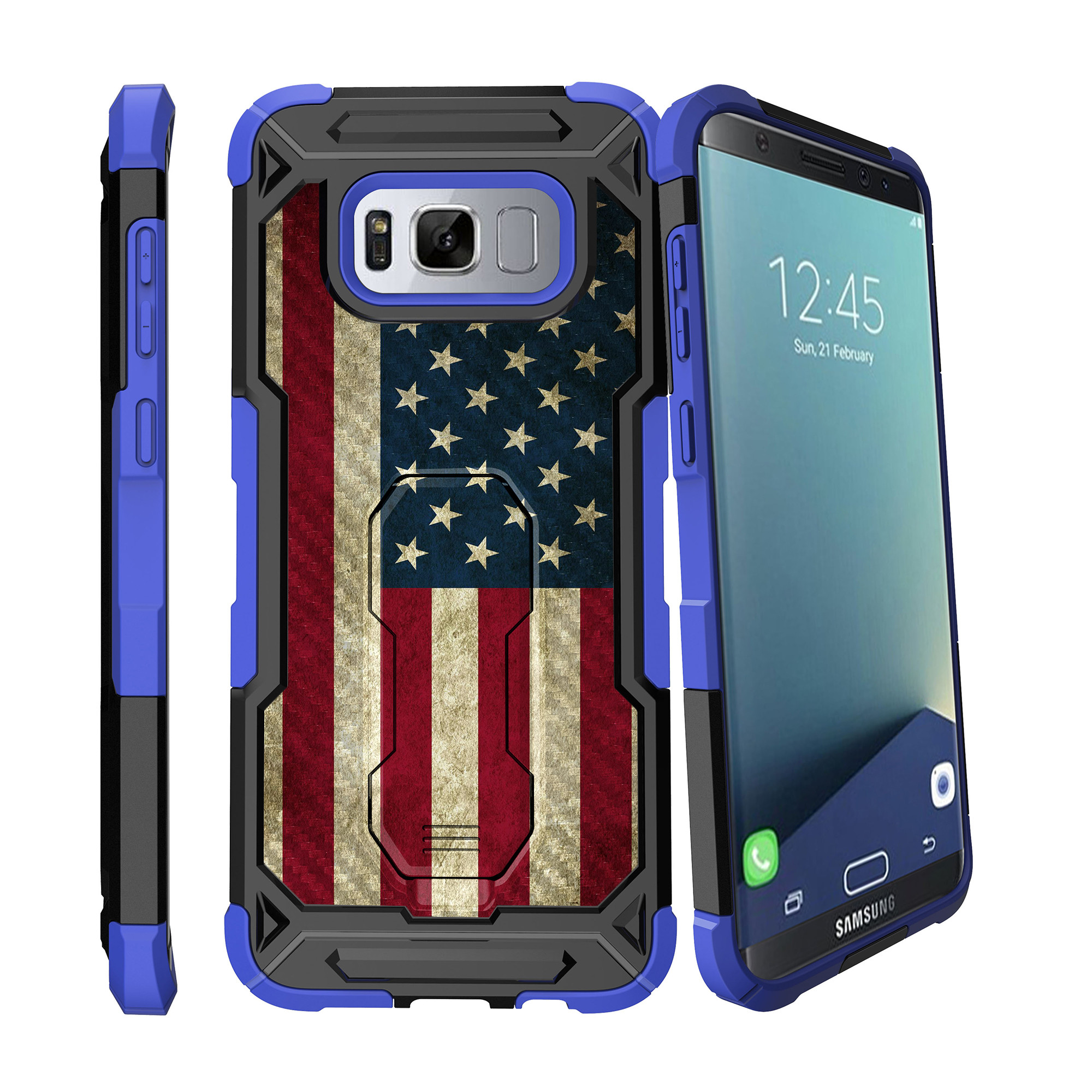 Case for Samsung Galaxy S8 Plus Version [ UFO Defense Case ][Galaxy S8 PLUS SM-G955][Blue Silicone] Carbon Fiber Texture Case with Holster + Stand Unique Collection
