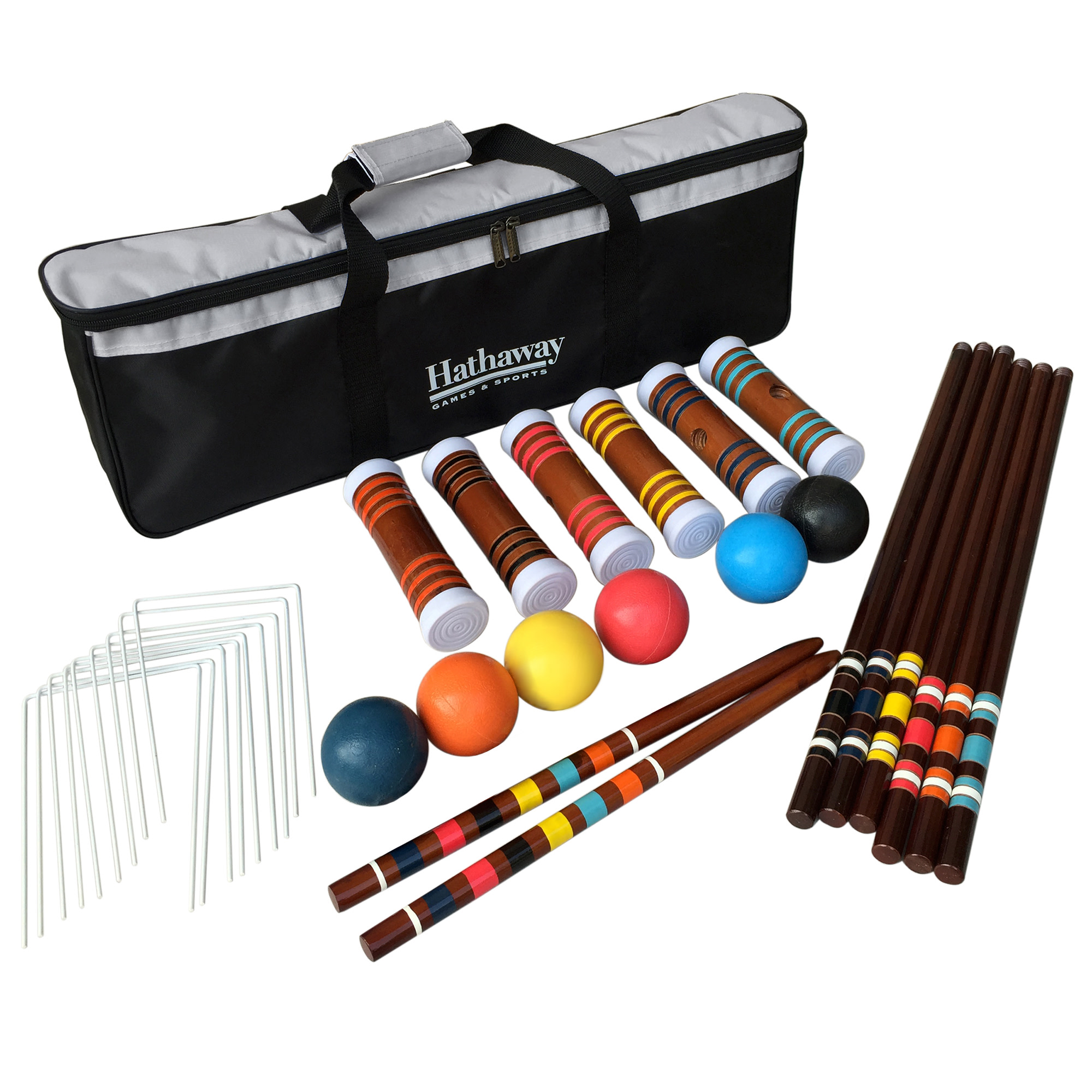 Hathaway 6-Player Croquet Set w/6 Mallets, 6 Balls, 9 Wickets, 2 Goal Stakes, & Nylon Carry Bag - Multicolored