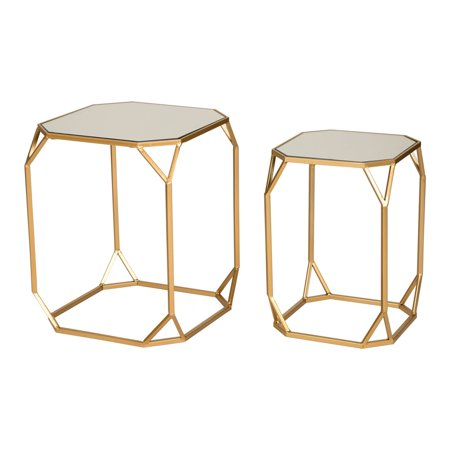 Glitzhome Gold Glass Top Metal Accent Nesting End Table, Set of - Leather Set Accent Table