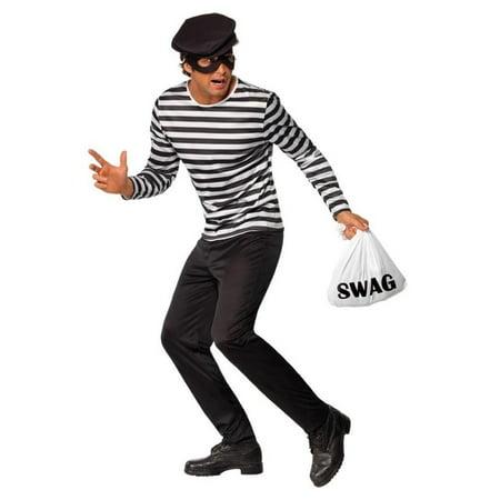 Classic Black & White Striped Bank Robber Costume Adult Large Large (Bank Robber Costumes)