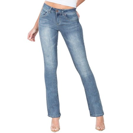 YMI Juniors WannaBettaButt Boot Cut Denim Jeans 16W Short ()